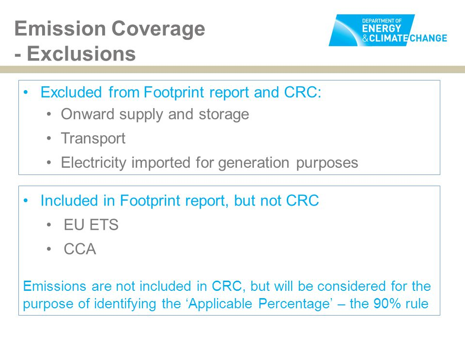 Excluded from Footprint report and CRC: Onward supply and storage Transport Electricity imported for generation purposes Emission Coverage - Exclusion