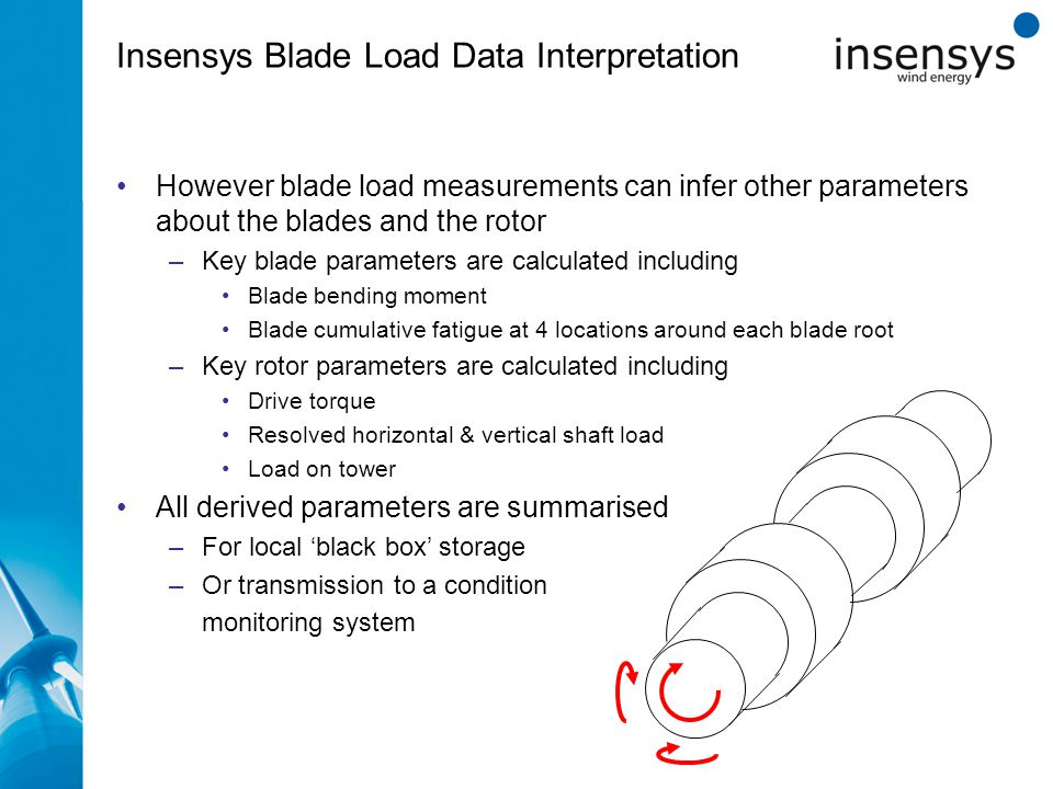 Insensys Blade Load Data Interpretation zxcz However blade load measurements can infer other parameters about the blades and the rotor –Key blade parameters are calculated including Blade bending moment Blade cumulative fatigue at 4 locations around each blade root –Key rotor parameters are calculated including Drive torque Resolved horizontal & vertical shaft load Load on tower All derived parameters are summarised –For local 'black box' storage –Or transmission to a condition monitoring system