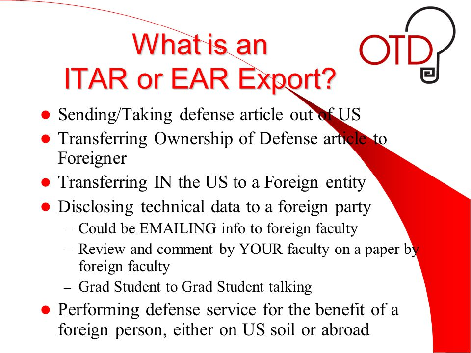 What is an ITAR or EAR Export.