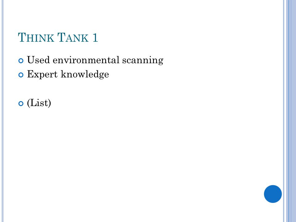 T HINK T ANK 1 Used environmental scanning Expert knowledge (List)