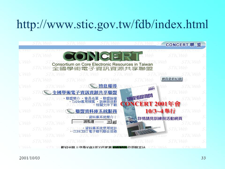 2001/10/0333 http://www.stic.gov.tw/fdb/index.html