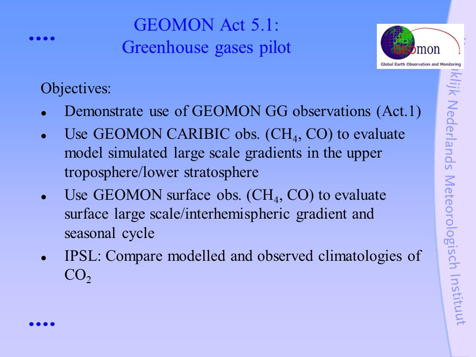 GEOMON Act 5.1: Greenhouse gases pilot Objectives: Demonstrate use of GEOMON GG observations (Act.1) Use GEOMON CARIBIC obs.