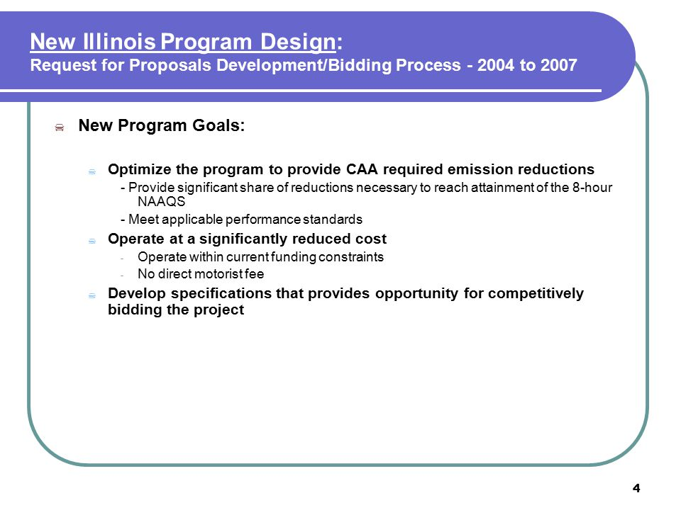 5 New Illinois Program Design: Request for Proposals Development/Bidding Process - 2004 to 2007 (con't)  Bidding Specifications to Meet Goals:  Range of Possible Test Networks Increased -Minimally require a full-service core of testing stations  Increased Test System Automation -Automated VID access -Use of bar code scanners and other tools to minimize data entry and testing errors  Enhanced Test Quality Assurance Features -Contractor required to incorporate features to identify fraud -Video surveillance image capture for each test  Improved VID Access/Support -Web-based, include support for VIN decoding, DLC locators, Exception tables
