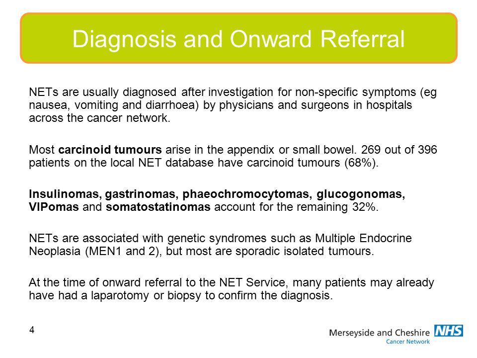 4 NETs are usually diagnosed after investigation for non-specific symptoms (eg nausea, vomiting and diarrhoea) by physicians and surgeons in hospitals across the cancer network.