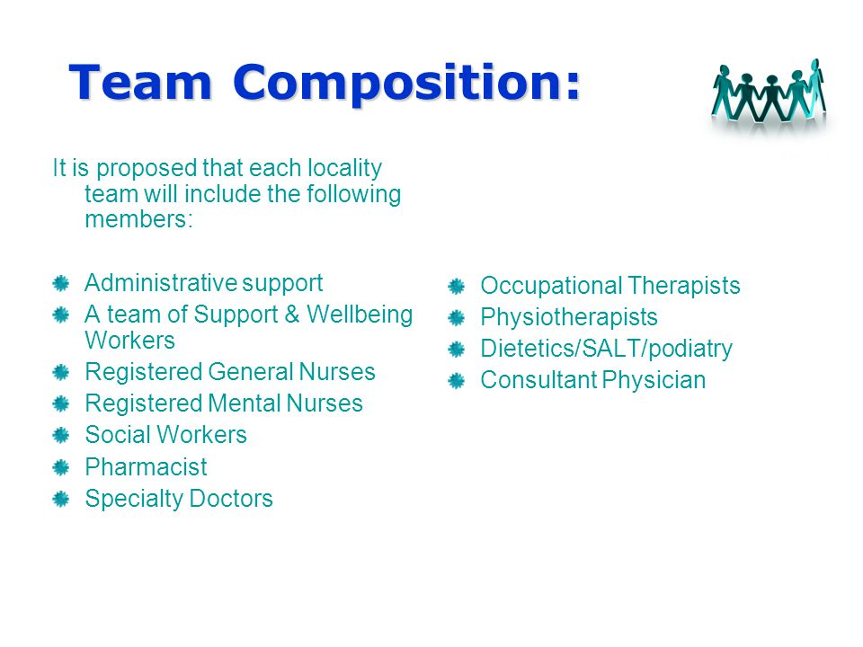Team Composition: Team Composition: It is proposed that each locality team will include the following members: Administrative support A team of Support & Wellbeing Workers Registered General Nurses Registered Mental Nurses Social Workers Pharmacist Specialty Doctors Occupational Therapists Physiotherapists Dietetics/SALT/podiatry Consultant Physician