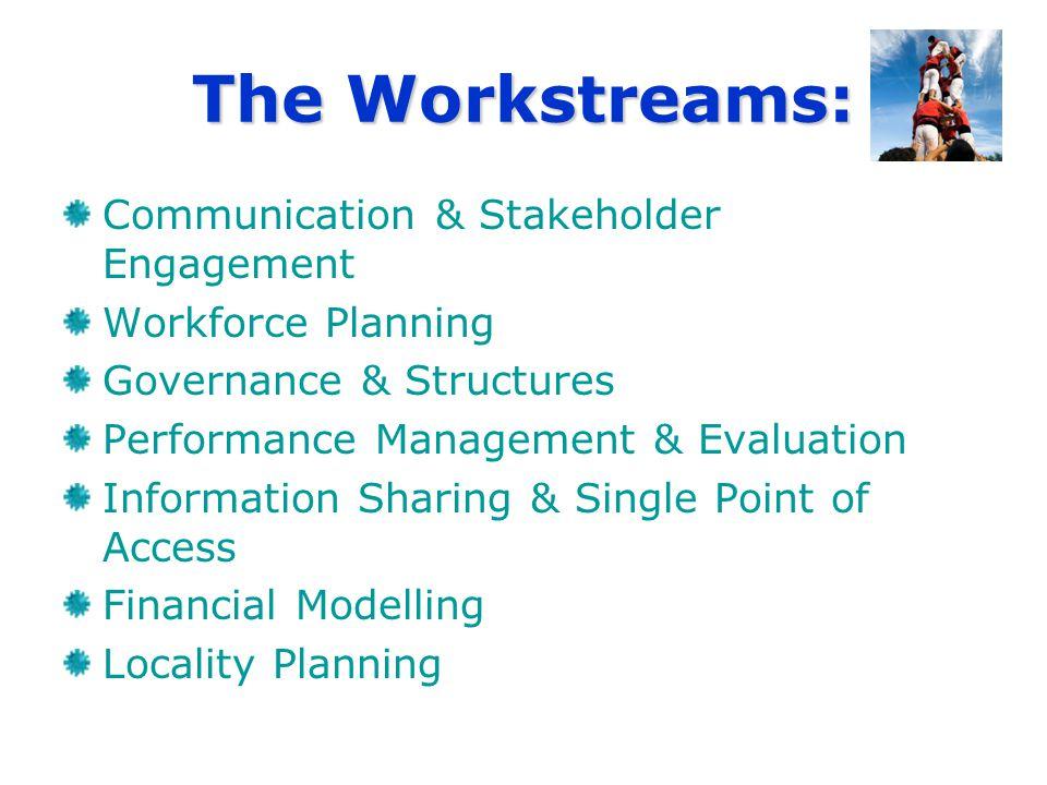 The Workstreams: Communication & Stakeholder Engagement Workforce Planning Governance & Structures Performance Management & Evaluation Information Sha