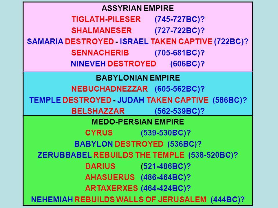 ASSYRIAN EMPIRE TIGLATH-PILESER(745-727BC). SHALMANESER(727-722BC).