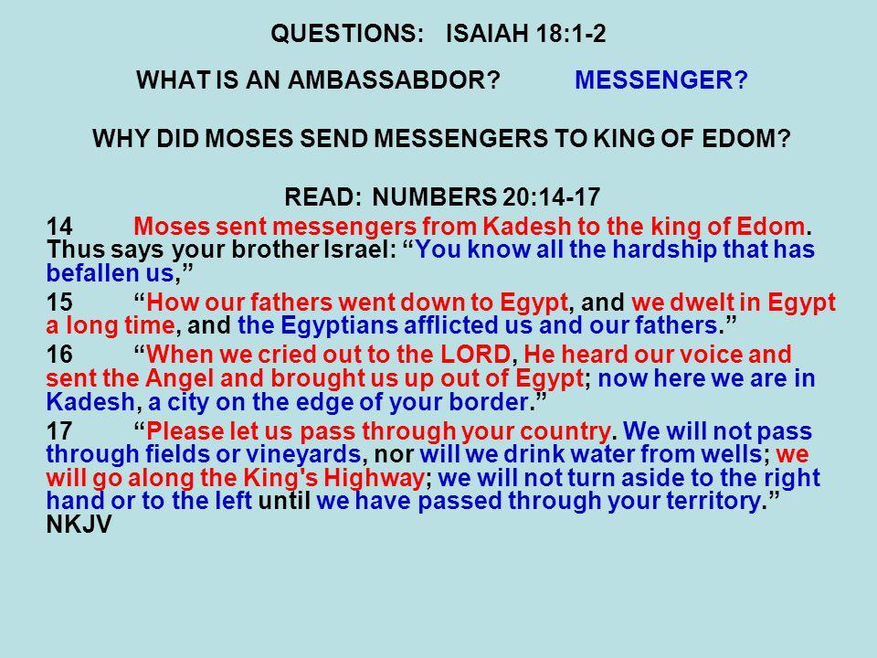 QUESTIONS:ISAIAH 18:1-2 WHAT IS AN AMBASSABDOR MESSENGER.