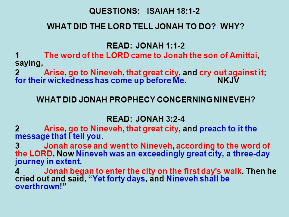 QUESTIONS:ISAIAH 18:1-2 WHAT DID THE LORD TELL JONAH TO DO WHY.