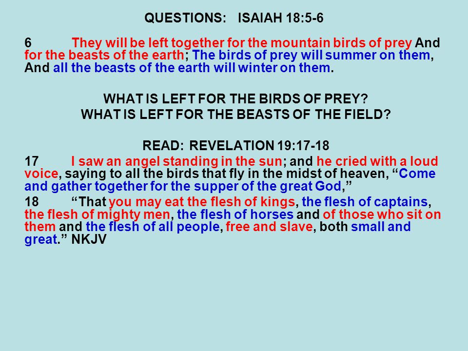 QUESTIONS:ISAIAH 18:5-6 6They will be left together for the mountain birds of prey And for the beasts of the earth; The birds of prey will summer on them, And all the beasts of the earth will winter on them.