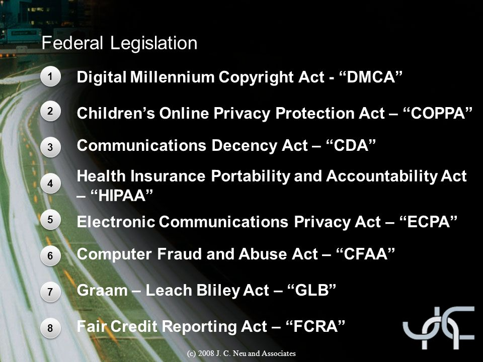 Federal Legislation Digital Millennium Copyright Act - DMCA 1 1 Children's Online Privacy Protection Act – COPPA 2 2 Communications Decency Act – CDA 3 3 Health Insurance Portability and Accountability Act – HIPAA 4 4 (c) 2008 J.