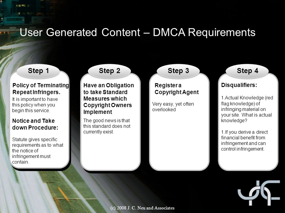 User Generated Content – DMCA Requirements Step 1Step 2Step 3 Policy of Terminating Repeat Infringers. It is important to have this policy when you be