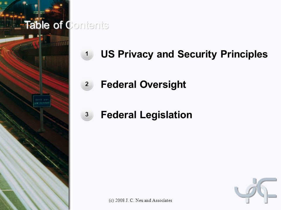 US Privacy and Security Principles 1 1 Federal Oversight 2 2 Federal Legislation 3 3 (c) 2008 J.