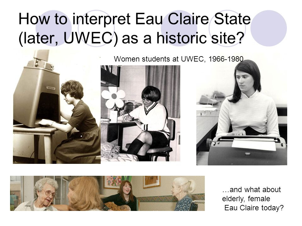 How to interpret Eau Claire State (later, UWEC) as a historic site.