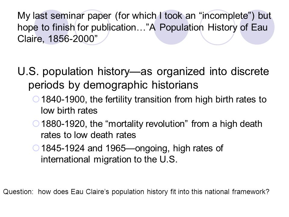 My last seminar paper (for which I took an incomplete ) but hope to finish for publication… A Population History of Eau Claire, 1856-2000 U.S.