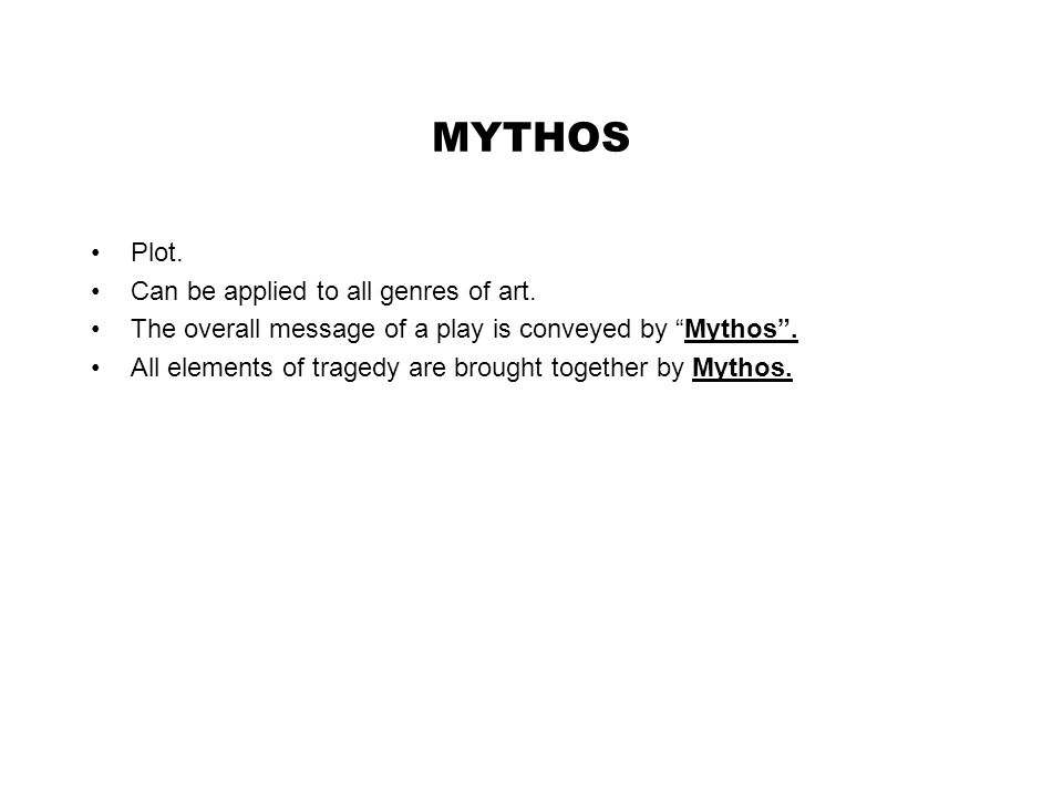 MYTHOS Plot. Can be applied to all genres of art.