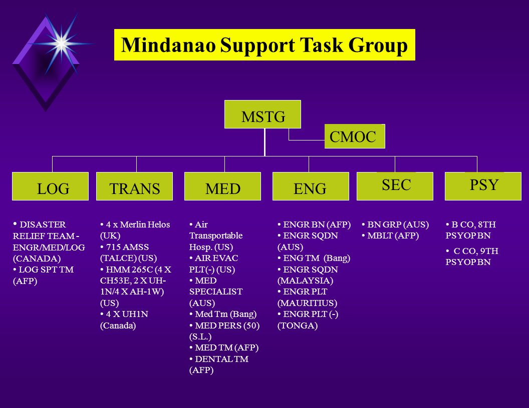 LOGTRANSMEDENG SEC MSTG PSY Mindanao Support Task Group DISASTER RELIEF TEAM - ENGR/MED/LOG (CANADA) LOG SPT TM (AFP) 4 x Merlin Helos (UK) 715 AMSS (TALCE) (US) HMM 265C (4 X CH53E, 2 X UH- 1N/4 X AH-1W) (US) 4 X UH1N (Canada) Air Transportable Hosp.