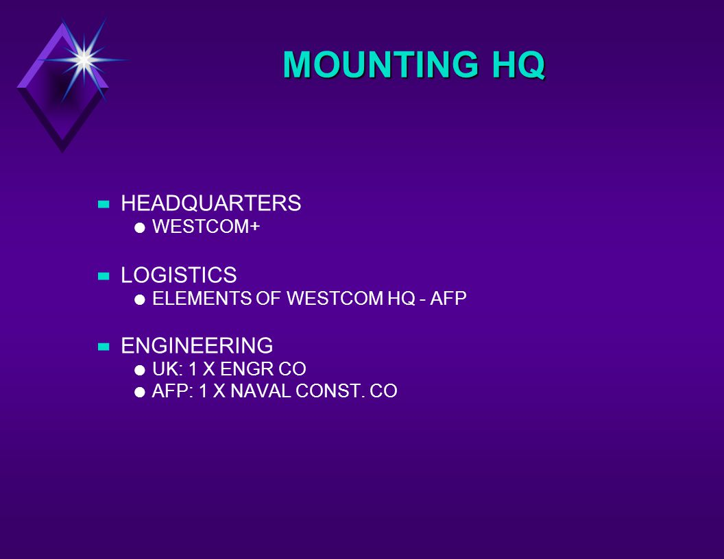 MOUNTING HQ –HEADQUARTERS l WESTCOM+ –LOGISTICS l ELEMENTS OF WESTCOM HQ - AFP –ENGINEERING l UK: 1 X ENGR CO l AFP: 1 X NAVAL CONST.