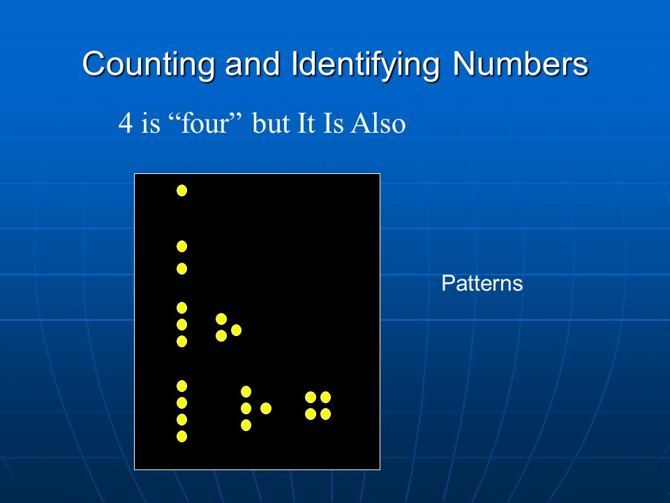 Counting and Identifying Numbers 4 is four but It Is Also Patterns