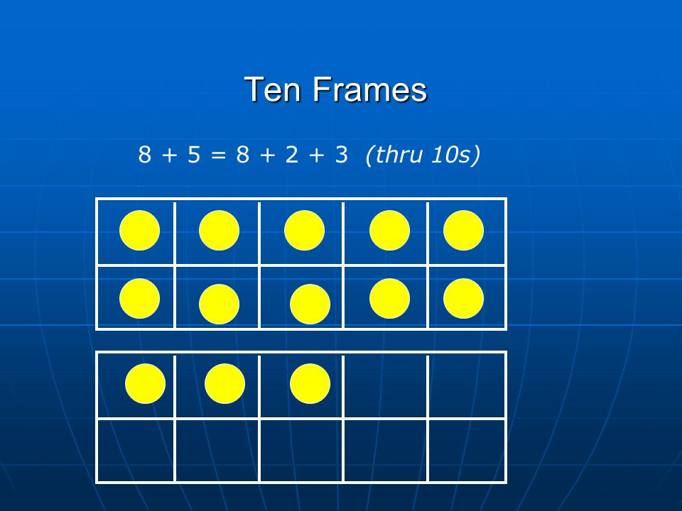 Ten Frames 8 + 5 = 8 + 2 + 3 (thru 10s)