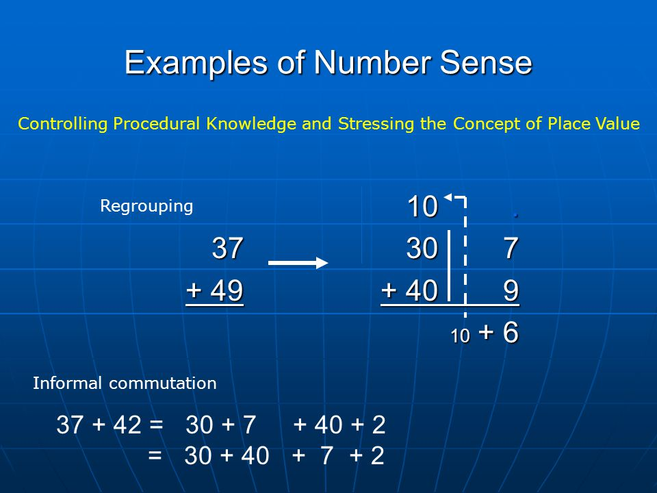 Examples of Number Sense Controlling Procedural Knowledge and Stressing the Concept of Place Value 10.