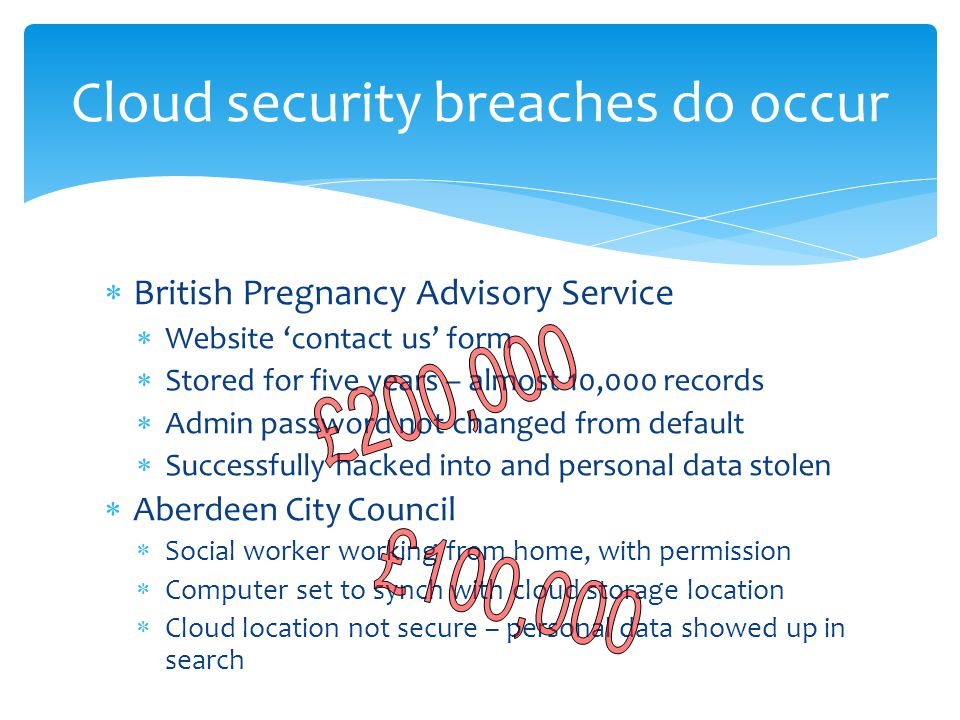 Cloud security breaches do occur  British Pregnancy Advisory Service  Website 'contact us' form  Stored for five years – almost 10,000 records  Admin password not changed from default  Successfully hacked into and personal data stolen  Aberdeen City Council  Social worker working from home, with permission  Computer set to synch with cloud storage location  Cloud location not secure – personal data showed up in search
