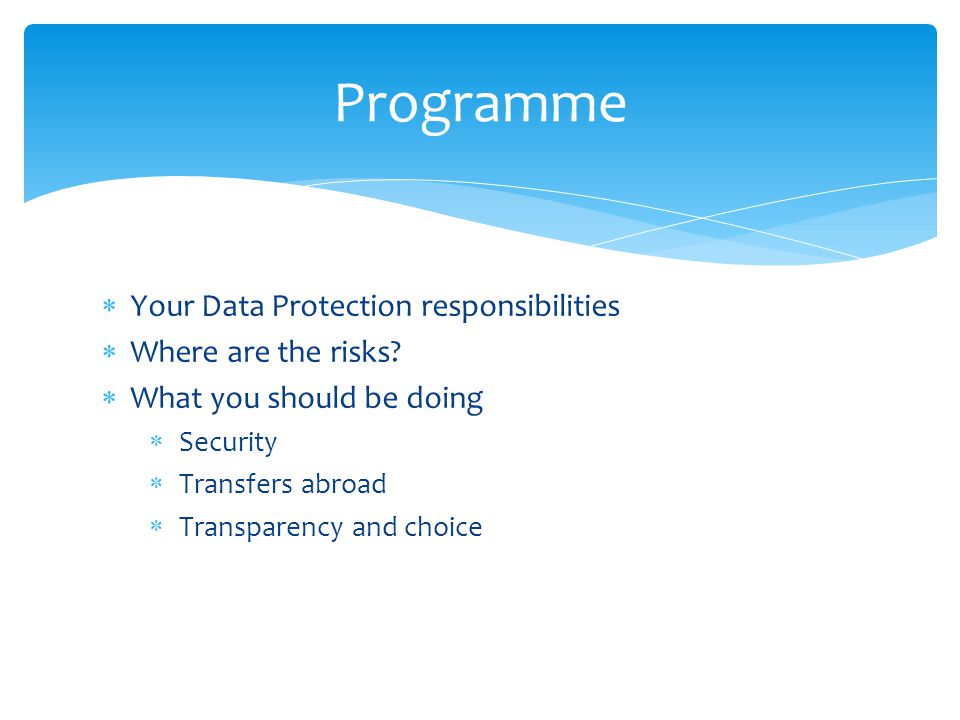 Programme  Your Data Protection responsibilities  Where are the risks.