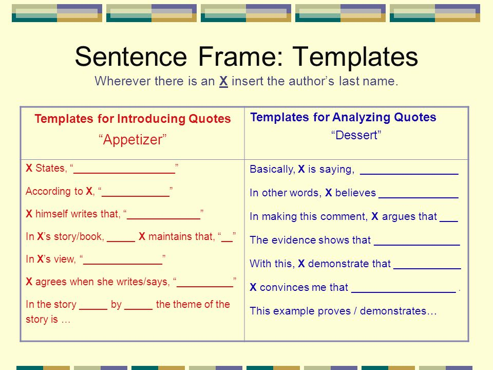 Sentence Frame: Templates Wherever there is an X insert the author's last name.