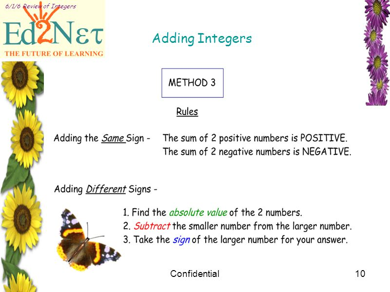 Confidential10 6/1/6 Review of Integers Adding Integers