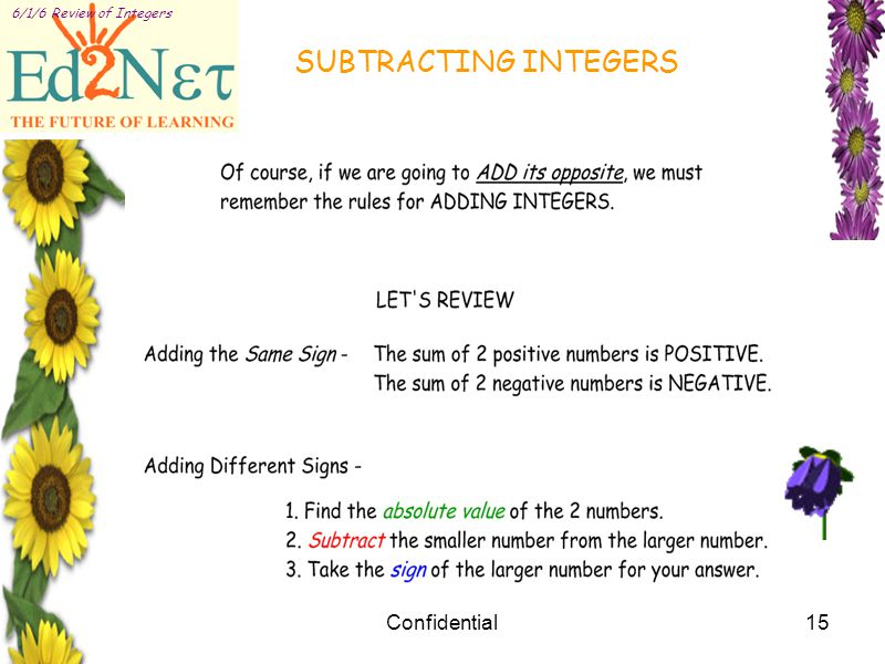 Confidential15 6/1/6 Review of Integers SUBTRACTING INTEGERS
