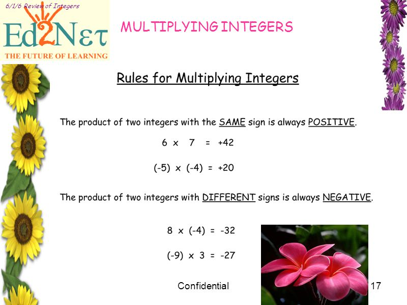 Confidential17 6/1/6 Review of Integers MULTIPLYING INTEGERS