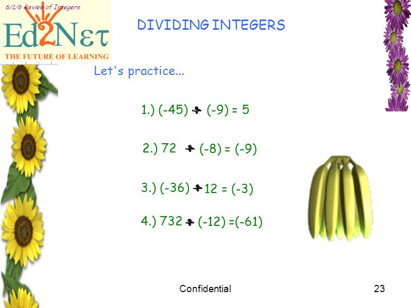 Confidential23 6/1/6 Review of Integers Let s practice...