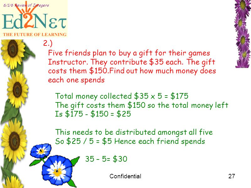 Confidential27 6/1/6 Review of Integers 2.) Five friends plan to buy a gift for their games Instructor.