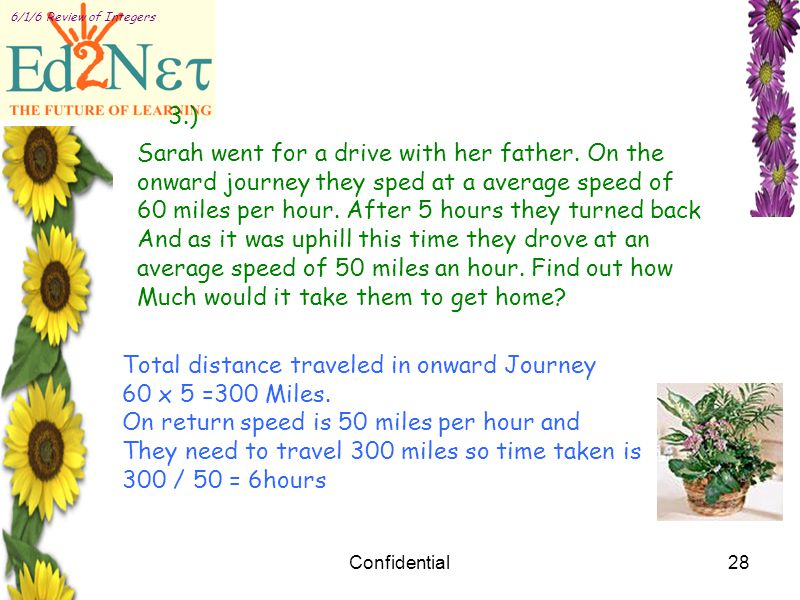 Confidential28 6/1/6 Review of Integers 3.) Sarah went for a drive with her father.