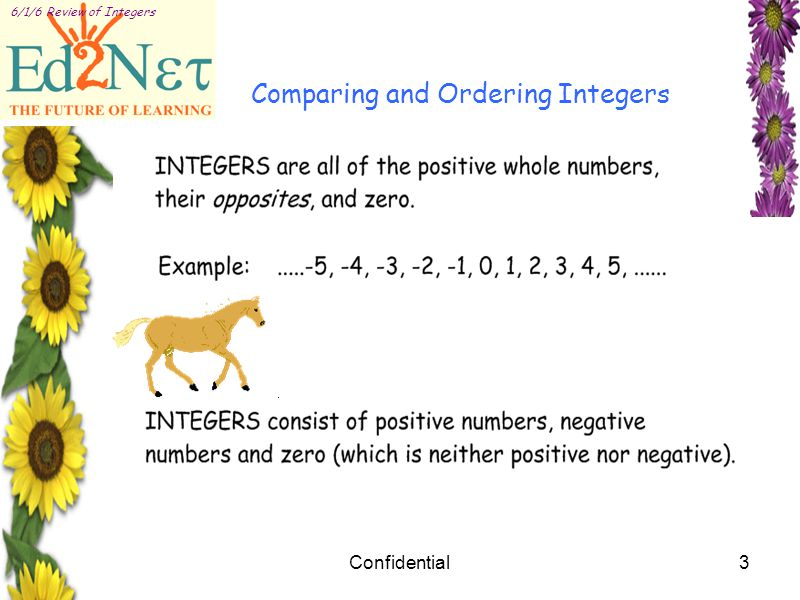 Confidential3 6/1/6 Review of Integers Comparing and Ordering Integers