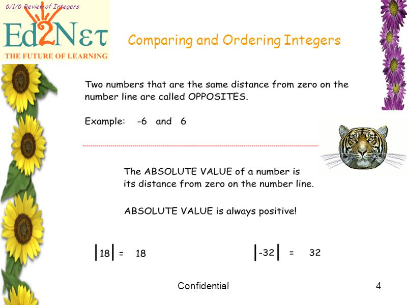 Confidential4 6/1/6 Review of Integers Comparing and Ordering Integers