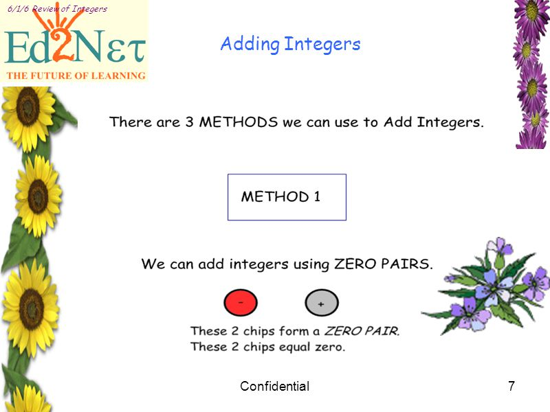 Confidential7 6/1/6 Review of Integers Adding Integers