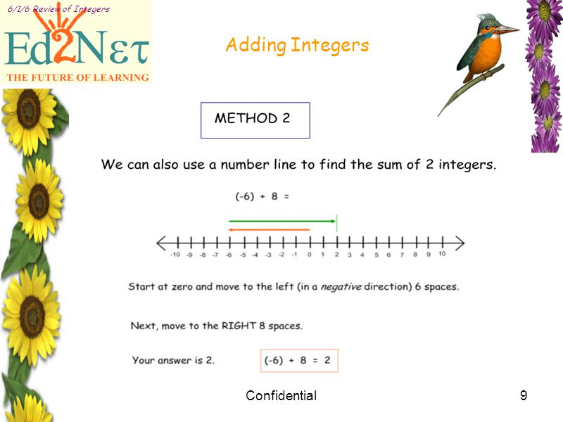 Confidential9 6/1/6 Review of Integers Adding Integers