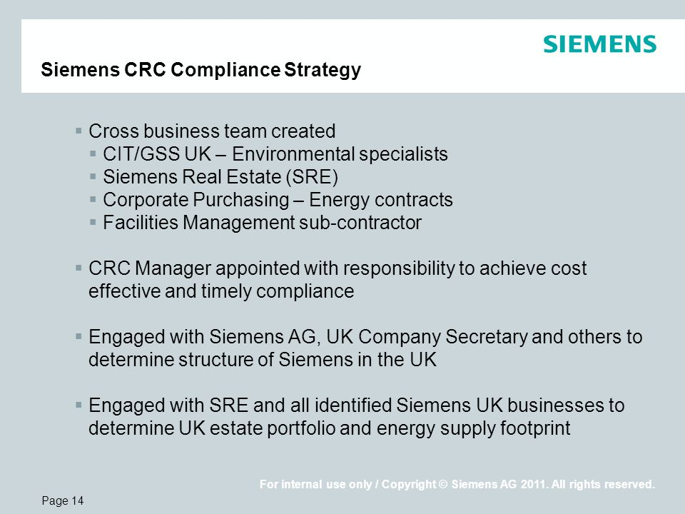 Page 14 For internal use only / Copyright © Siemens AG 2011.