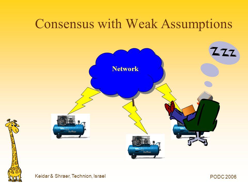 Keidar & Shraer, Technion, Israel PODC 2006 Consensus with Weak Assumptions Network