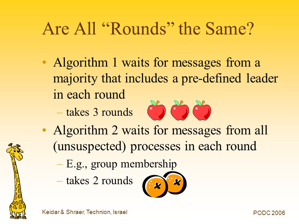 Keidar & Shraer, Technion, Israel PODC 2006 Are All Rounds the Same.