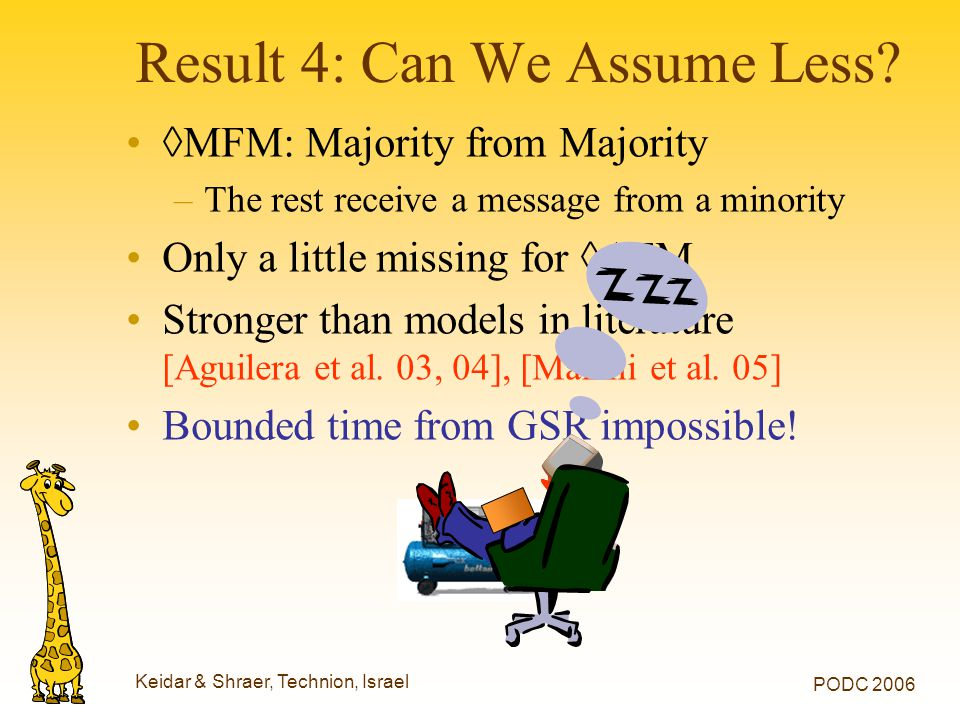 Keidar & Shraer, Technion, Israel PODC 2006 ◊MFM: Majority from Majority –The rest receive a message from a minority Only a little missing for ◊AFM St