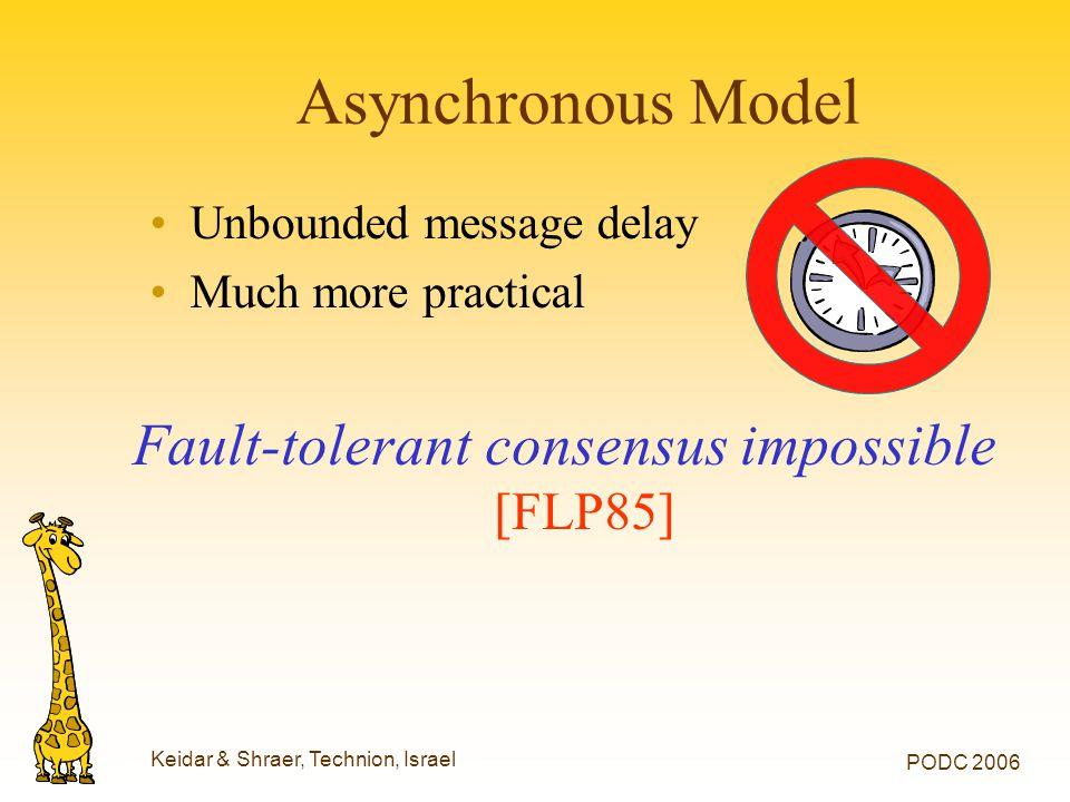 Keidar & Shraer, Technion, Israel PODC 2006 Asynchronous Model Unbounded message delay Much more practical Fault-tolerant consensus impossible [FLP85]