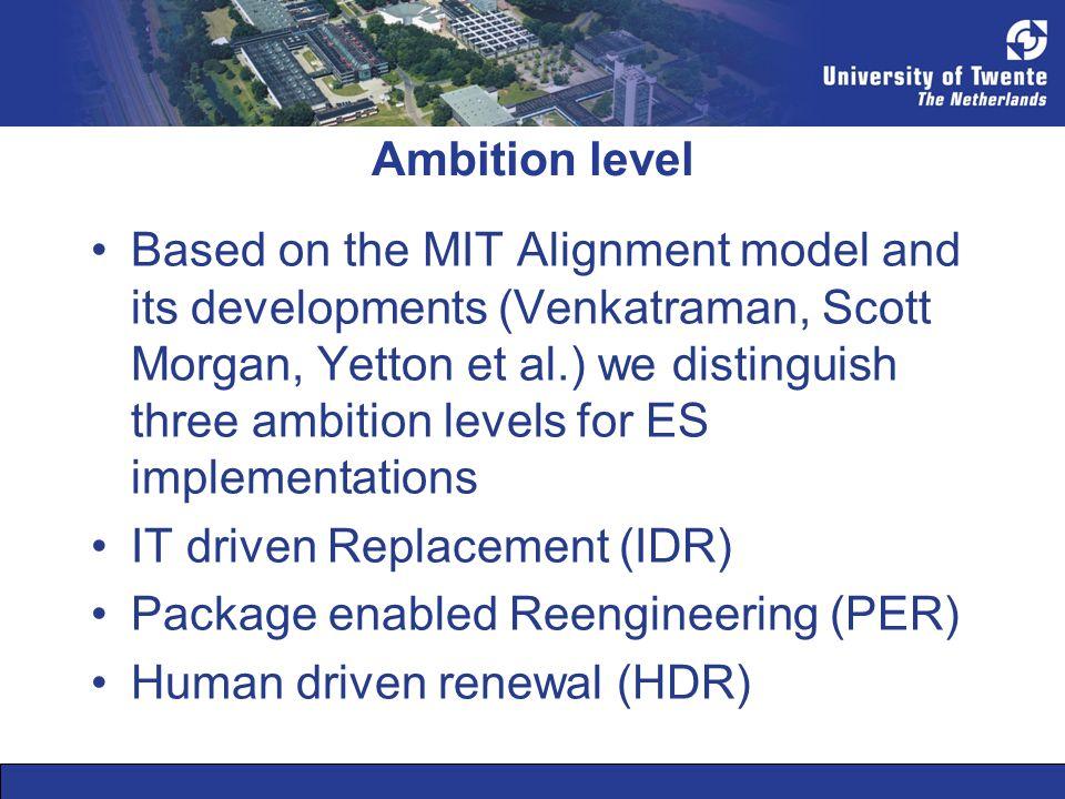 Ambition level Based on the MIT Alignment model and its developments (Venkatraman, Scott Morgan, Yetton et al.) we distinguish three ambition levels f