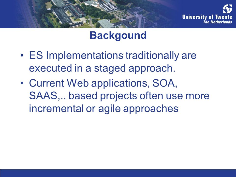 In the last century the incremental and agile implementation of ES was explained and described (Fichman & Moses, 1998; Stender 1999) But the monolithic technology behind the ERP systems at first prohibited actual incremental implementation approaches.