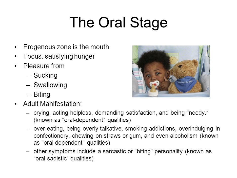 The Oral Stage Erogenous zone is the mouth Focus: satisfying hunger Pleasure from –Sucking –Swallowing –Biting Adult Manifestation: –crying, acting he
