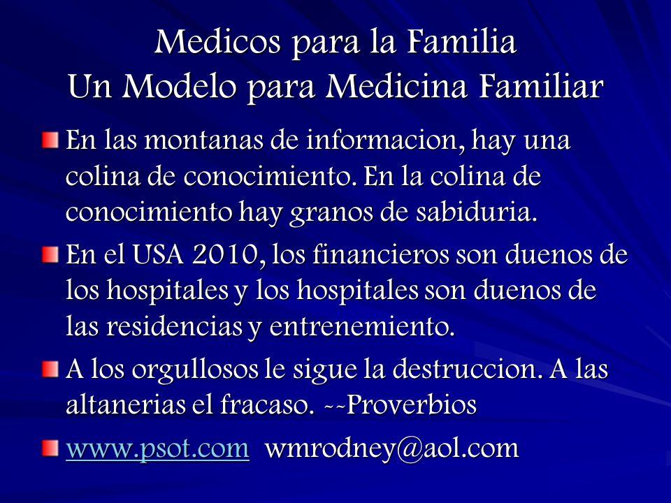 Medicos para la Familia Un Modelo para Medicina Familiar En las montanas de informacion, hay una colina de conocimiento.