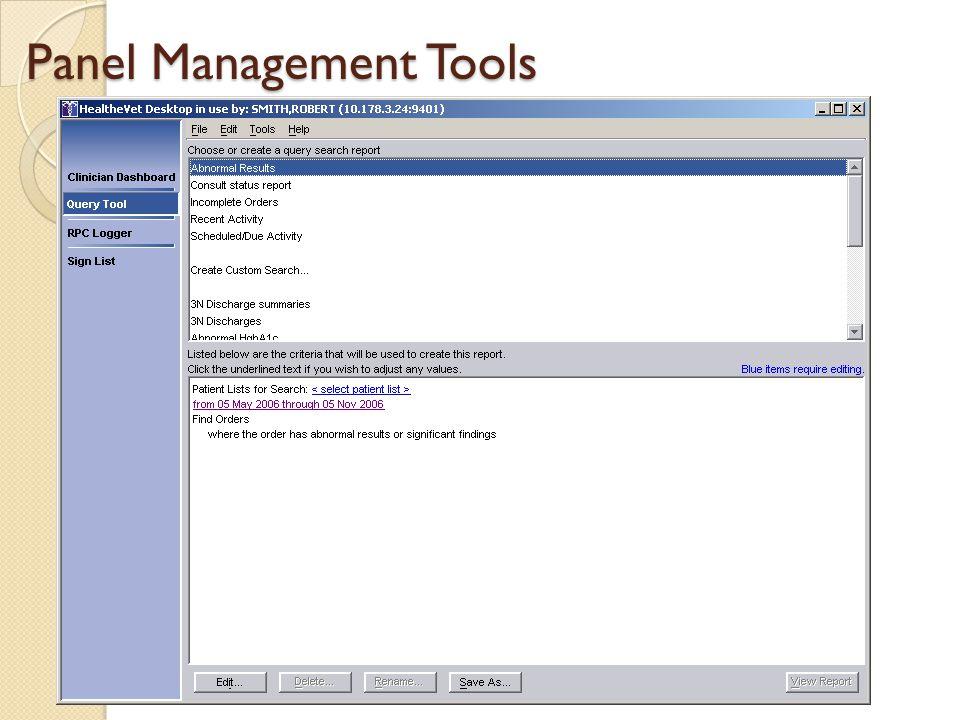 Panel Management Tools