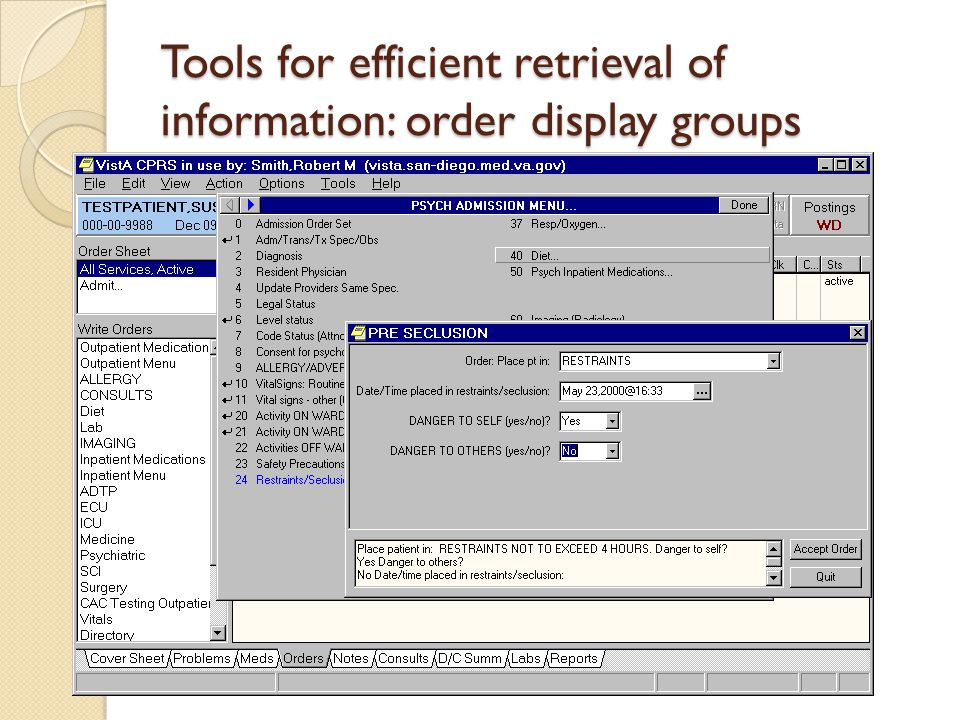 Tools for efficient retrieval of information: order display groups