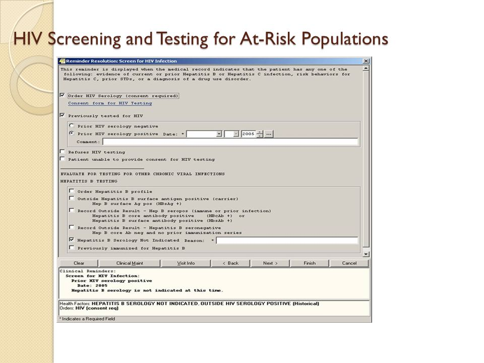 HIV Screening and Testing for At-Risk Populations